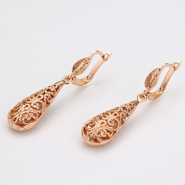 Elegant 18K Rose Gold Plated Drop Earrings